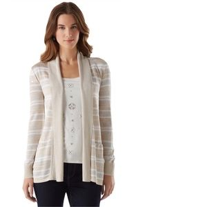 Sweaters - DRAPED STRIPE CARDI